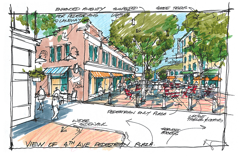 A sketch of the proposed downtown plaza