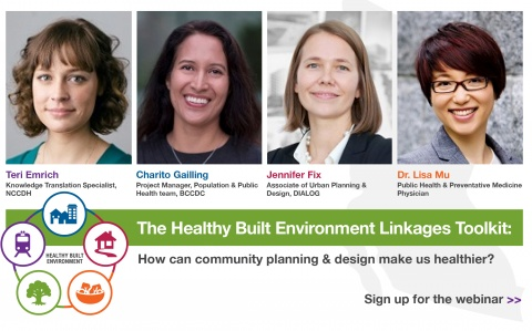 Image of the four presenters of the Healthy Built Environment Linkages Toolkit Webinar