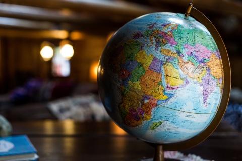 a globe on a table